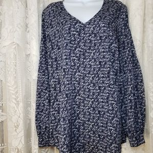 NWOT CAbi purple &gray long sleeve Love blouse Womens Large